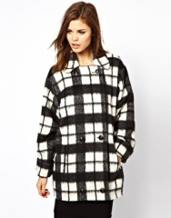 French Connection  French Connection Check Bunny Coat at Asos