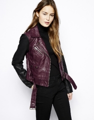 French Connection Athena Leather Jacket at Asos