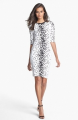 French Connection Bark Print Jersey Pencil Dress at Nordstrom