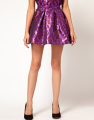 French Connection Lantern Skirt In Metallic Leopard Print at Asos