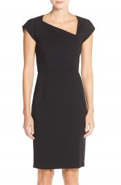 French Connection Nadine Asymmetrical Neck Knit Sheath Dress in black at Nordstrom