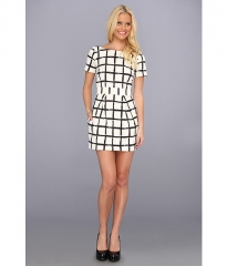 French Connection Paint Check Richie Dress 71AGX White at Zappos