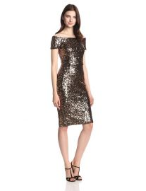 French Connection Womenand39s Cosmic Sparkle Cap-Sleeve Dress  in Tiger Gold at Amazon