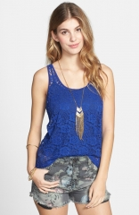 Frenchiand174 Sheer Lace Tank in blue at Nordstrom