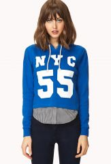 Fresh NYC Cropped Hoodie at Forever 21