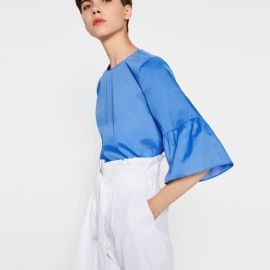 Frilled Sleeve Top at Zara
