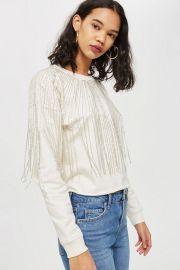 Fringe Crystal Sweatshirt at Topshop