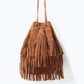 Fringed Suede Bucket Bag at Zara