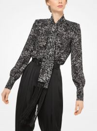 Fringed Tiger Silk-Georgette Scarf Blouse at Michael Kors