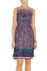 Fringed Tweed Dress by Lela Rose at Net A Porter