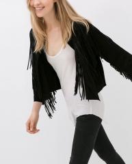 Fringed leather jacket at Zara