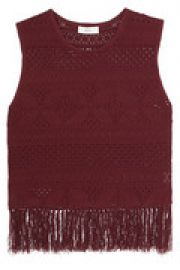 Fringed pointelle-knit top at The Outnet
