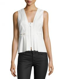 Front-Zip Sleeveless Peplum Top at Neiman Marcus