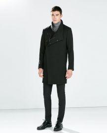 Funnel neck coat at Zara