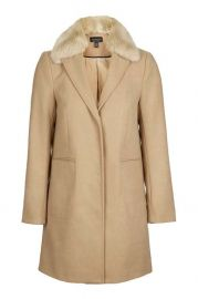 Fur Collar Boyfriend Coat at Topshop