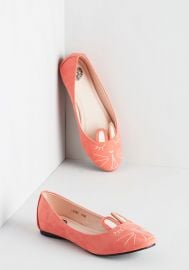 Furry Up Were Dreaming Flat in Coral at ModCloth