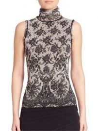 Fuzzi - Chantilly Lace-Print Turtleneck Top at Saks Fifth Avenue