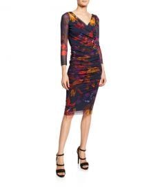 Fuzzi Leaf-Print Ruched Bodycon Dress at Neiman Marcus