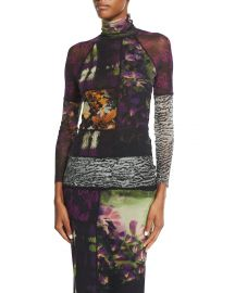 Fuzzi Mixed-Print Long-Sleeve Turtleneck at Neiman Marcus