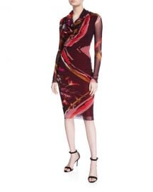 Fuzzi Patchwork Flower Cowl-Neck Long-Sleeve Dress at Neiman Marcus