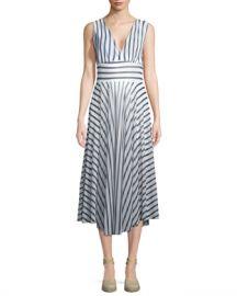 Fuzzi Striped Hollywood V-Neck Dress at Neiman Marcus