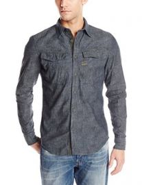 G-Star Menand39s Rovic Heathered Long-Sleeve Button-Front Shirt at Amazon