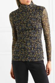 GANNI   Tilden floral-print mesh turtleneck top at Net A Porter