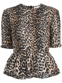 GANNI leopard print blouse leopard print blouse at Farfetch