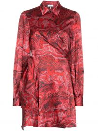 GANNI printed wrap mini dress printed wrap mini dress at Farfetch