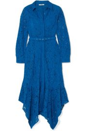 GANNI - Belted asymmetric corded lace dress at Net A Porter