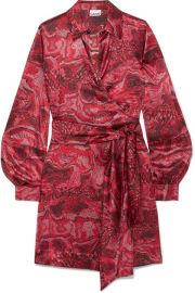 GANNI - Belted printed stretch-silk satin wrap mini dress at Net A Porter