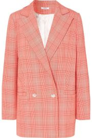 GANNI   Checked cady blazer at Net A Porter