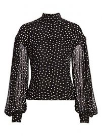 GANNI - Dotted Georgette Top at Saks Fifth Avenue