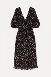 GANNI - Elm floral-print georgette midi dress at Net A Porter