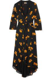 GANNI   Fairfax floral-print chiffon wrap dress at Net A Porter