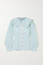 GANNI - Feathery striped cotton-poplin blouse at Net A Porter