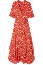 GANNI   Floral-print crepe de chine wrap dress at Net A Porter