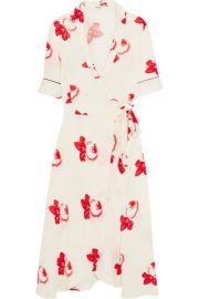 GANNI - Floral-print crepe de chine wrap dress at Net A Porter