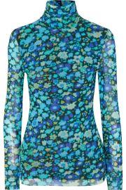 GANNI - Floral-print stretch-mesh turtleneck top at Net A Porter