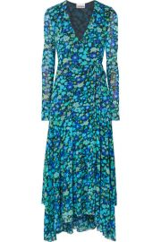 GANNI - Floral-print stretch-mesh wrap midi dress at Net A Porter