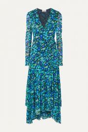 GANNI - Floral-print stretch-mesh wrap midi dress at Net A Porter