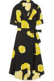 GANNI   Floral-print washed-silk wrap dress at Net A Porter