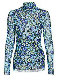 GANNI - Mesh Floral Turtleneck Top at Saks Fifth Avenue