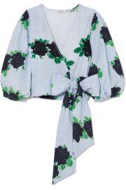 GANNI - Pine embellished printed cotton-poplin wrap top at Net A Porter