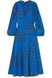 GANNI - Printed silk crepe de chine maxi dress at Net A Porter