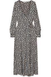 GANNI   Roseburg printed crepe de chine wrap dress at Net A Porter