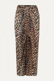 GANNI - Tie-front leopard-print silk-blend satin midi skirt at Net A Porter