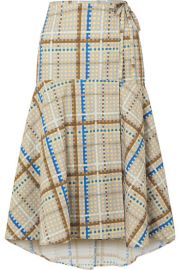 GANNI - Tiered checked cotton-poplin wrap skirt at Net A Porter