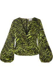 GANNI - Tiger-print silk-blend satin top at Net A Porter