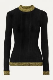 GANNI - Two-tone ribbed cotton-blend sweater at Net A Porter